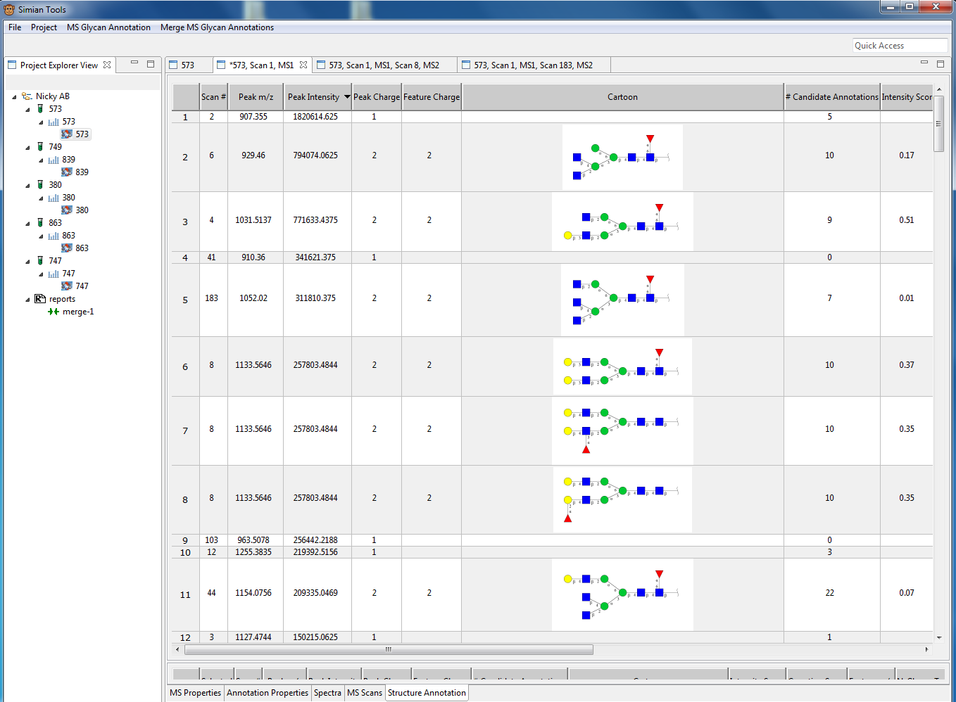 Figure 2: Screenshot of the MS1 annotation of an experiment.