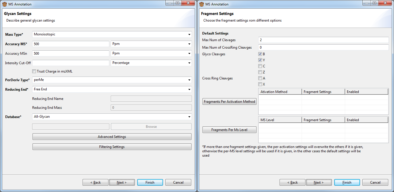 Figure 1: Screenshot of GELATO fragmentation settings dialogs.